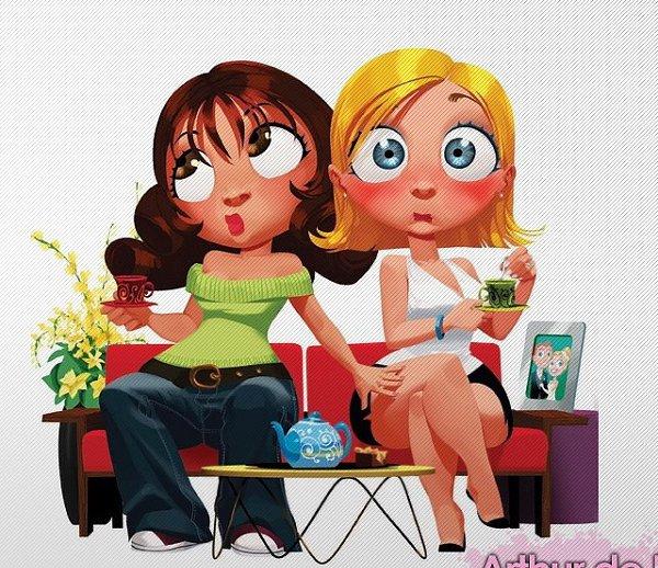 Прикольная картинка две подруги, открытку