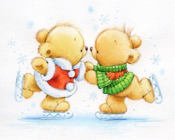 Надписью занят, открытка с мишкой с новым годом