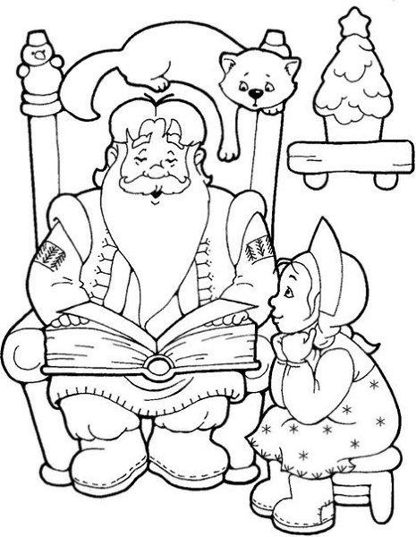 новогодняя раскраска дед мороз и снегурочка раскраски